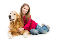 Retriever and  little girls Royalty Free Stock Image