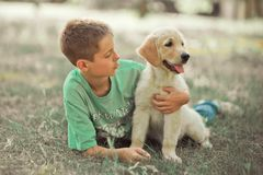 Retriever pup Lovely scene handsom teen boy enjoying summer time vacation with best friend dog ivory white labrador puppy.Happy ai. Rily careless childhood life Royalty Free Stock Images