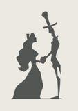 Retro älska kopplar ihop hållhjärta stock illustrationer