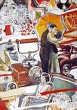 Retro- Ölcollagenillustration im alten Stil mit jungen Paaren Stockbild