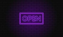 Retro öppen klubbainskrift Elektrisk skylt för tappning med ljusa neonljus Rosa ljusa nedgångar på en tegelstenbakgrund Vektor il Arkivfoton