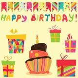 retro świętowanie urodzinowi elementy Zdjęcia Stock