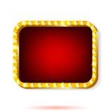 Retro światło ramy czerwień z żarówkami na białym tle Zdjęcie Royalty Free