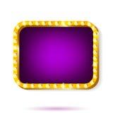 Retro światło ramy purpury z żarówkami odizolowywać na białym tle Obrazy Stock