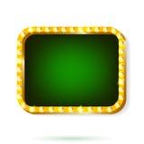 Retro światło ramy zieleń z żarówkami odizolowywać na białym tle Zdjęcia Stock