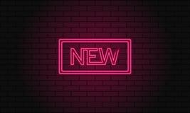 Retro świetlicowy wpisowy Nowy Rocznika elektryczny signboard z jaskrawymi neonowymi światłami Różowy światło spada na ceglanym t ilustracji