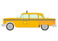 Retro żółta taksówki sylwetka. royalty ilustracja