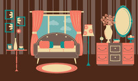 Retro żywy pokój w płaskim stylu Obraz Royalty Free