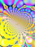 Retro 1960s 1970s 60s 70s Vortex Background. Fractal that simulates a retro 60s 70s 1960s 1970s vortex background Stock Photography