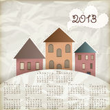 Retro 2013 calendar. Background with old houses, place for your text, crumpled paper texture stock illustration