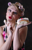 Retro 50s style female with cream cake Stock Images