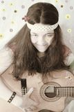 retro 60s teen girl guitar stock photos