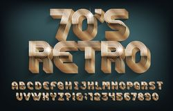 Free Retro 70s Alphabet Font. 3D Golden Letters And Numbers. Stock Photography - 168184232