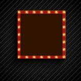 Retro aanplakbord met lampen voor ruimtetekst zwarte achtergrond royalty-vrije illustratie