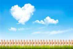 Retro aardachtergrond met blauwe hemel met harten vormt wolken stock illustratie