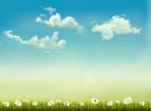 Retro aardachtergrond met groene gras en hemel. Stock Afbeelding