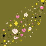 Retro abstract art background. Design elements with cute characters Royalty Free Stock Photos