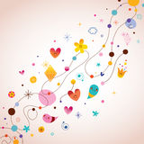 Retro abstract art background. Design elements with cute little characters Stock Image