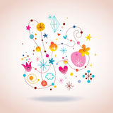 Retro abstract art illustration. With cute characters Stock Photography