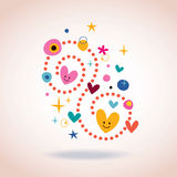 Retro abstract art illustration with cute hearts Stock Photo