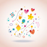 Retro abstract art illustration. With cute little characters Royalty Free Stock Images