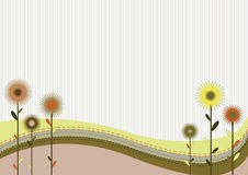 Retro abstract background. Abstrast background with flowers and stripes royalty free illustration