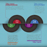 Retro abstract 3d vinyl infographics. Can be used for workflow layout, diagram, number options, web design royalty free illustration