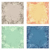 Retro abstract floral backgrounds. Four abstract vegetable retro backgrounds with different colors and patterns Royalty Free Stock Photo