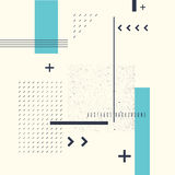 Retro abstract geometric background. The poster with the flat figures. Stock Image