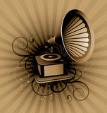Retro abstract with gramophone. On a striped background Stock Photography