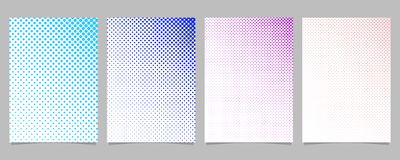 Retro abstract halftone dot pattern brochure template set - vector page background graphic designs. With colored circles on white background Stock Images