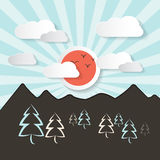 Retro Abstract Mountain Landscape Stock Images