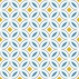 Retro abstract naadloos patroon met cirkels in Skandinavische stijl Lichtblauwe, gele kleuren Vector illustratie Stock Foto