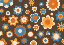 Retro abstract pattern. Vector illustration of multicolored funky flowes abstract pattern on brown background Royalty Free Stock Image