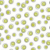 Retro abstract 50s circle dots geo seamless vector pattern. Bright green on beige basic geometric retro repeat background royalty free illustration