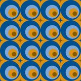 Retro abstract seamless pattern. Seamless pattern with stars and rounds Royalty Free Stock Image