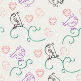 Retro abstract valentine seamless pattern. Romantic nostalgia design with curls, hearts and birds. Can be used for web page backgr Royalty Free Stock Image