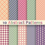 Retro abstract vector seamless patterns (tiling). 10 Retro abstract vector seamless patterns (tiling). Endless texture can be used for wallpaper, pattern fills Royalty Free Stock Photography