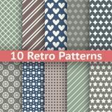 Retro abstract vector seamless patterns. 10 Retro abstract vector seamless patterns (tiling, with swatch). Set of monochrome geometric ornaments Royalty Free Stock Photo
