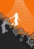 Retro abstracte springende meisjes Stock Afbeelding