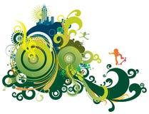 retro abstrakt blå green Arkivbild