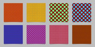 Retro- abstrakte nahtlose Tupfenhintergrund-Musterschablone stellte ein - vector Sammlung von farbigen Kreisen Lizenzfreie Stockfotos