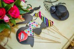 Retro accessori di carta per i photobooths che photoshooting Fotografia Stock