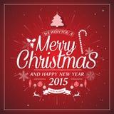 Retro accogliere di desiderio di feste di tipografia di Natale Immagini Stock Libere da Diritti