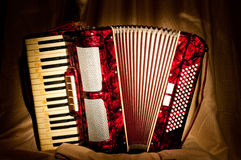 Retro accordion. In the dark stock photography