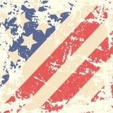Retro Achtergrond met Amerikaanse Vlag Stock Afbeelding