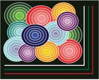 Retro achtergrond met cirkels originele kleur royalty-vrije stock afbeeldingen