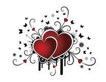 Retro achtergrond met hart Stock Foto's