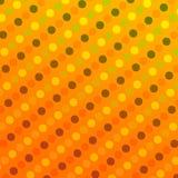 Retro Achtergrond met Stippen - Abstracte Geometrische Patroontextuur - Naadloos Traditioneel Ontwerp - Geeloranje Cirkels - Grap Stock Foto