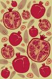 Retro achtergrond van de granaatappel Stock Afbeelding